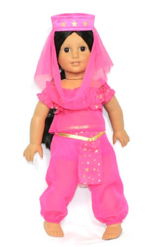 Girls Generation Genie Costume (Arianna Fits American Girl 18 Doll - Pink Gold Genie Costume- Top Harem Pant - Head dress - 18 inch Doll clothes - Boutique Quality She's Worth it! - Designed In USA Fits 18 Inch Dolls)
