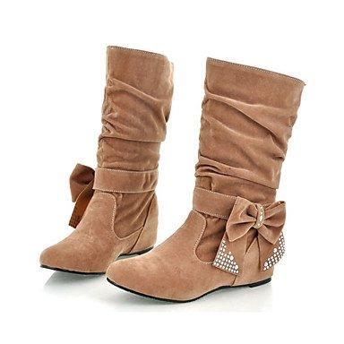 RTRY Zapatos de mujer Cuero de Nubuck primavera otoño Comfort Novedad Bootie botas de tacón cuña señaló Toe Botas Mid-Calf Bowknot Glitter espumoso US5.5 / EU36 / UK3.5 / CN35