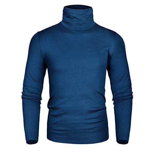 (Derminpro Men's Thermal Turtleneck Soft Long Sleeve T-Shirt Navy X-Large)