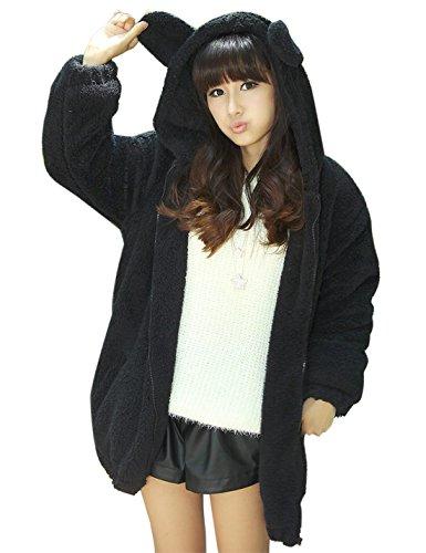 Gihuo Women's Cute Bear Ears Plush Hooded Fleece Jacket Zip Up Sweatshirt (One Size, Black) (Bear Black Hooded Sweatshirt)