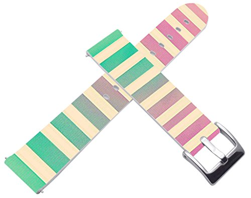 Band for Galaxy Watch 42mm & 20mm Leather Strap Personalized Green Pink Stripes Print (for Samsung for Galaxy Gear S2 Classic/Gear Sport/for Ticwatch 2/for Withings Steel HR/for Moto 360 2nd Gen)