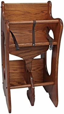 アーミッシュ製Child 's 3- in - 1Rocking Horse / High Chair /デスク組み合わせ–ソリッドOak–Harvest Stain