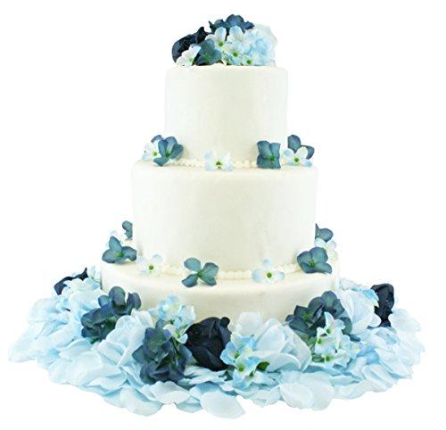 Navy and Light Beach Blue Hydrangea Rose Cake Flowers - Reception Decoration