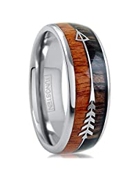 King's Cross Magnificent 6mm/8mm Silver Tungsten Carbide Wedding Band w/Dual Koa Wood Inlay & Silver Feathered Arrow.