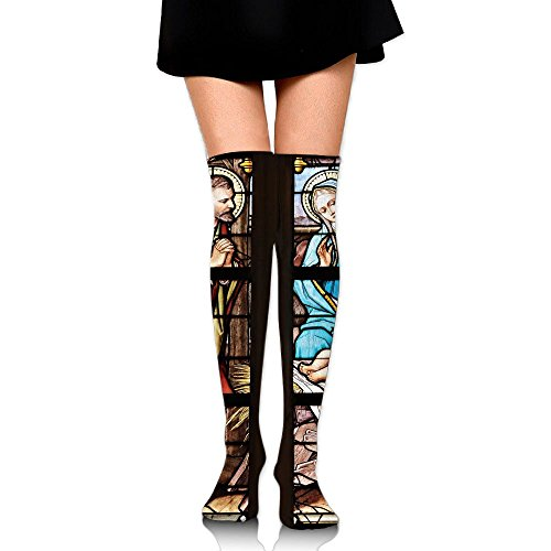 Stained Glass Church Window Stained Glass Print Casual Knee High Socks Fashion Athletic Stockings by JRHC