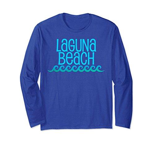 Laguna Long Sleeve (Unisex Laguna Beach Long Sleeve T-Shirt Waves Surf Tee Shirt Small Royal Blue)