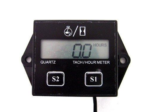 GXG-1987 Digital Hour Meter Tachometer Tach Tacho for Yamaha Honda Kawasaki BMW (Manual Tach)