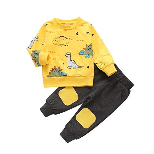 LUCSUN Peuter Baby Jongen Kleding Dinosaurus Lange Mouw Sweatshirt Tops Elastische Broek Casual Outfits