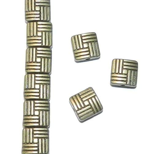Pendant Jewelry Making Antiqued Bronze 8mm Flat Square Weave Pattern Metal Alloy Beads -