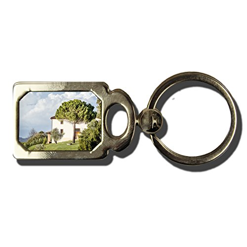Typical House In Tuscany One Side Framed Metal Key Chain from Style in Print