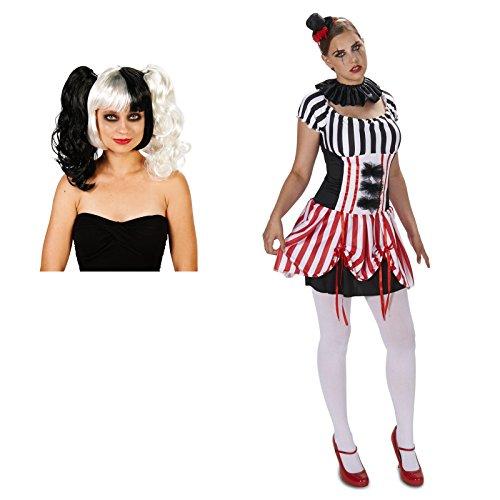 Carn-Evil Vintage Striped Dress Adult Costume Large Wig Bundle Set from BirthdayExpress