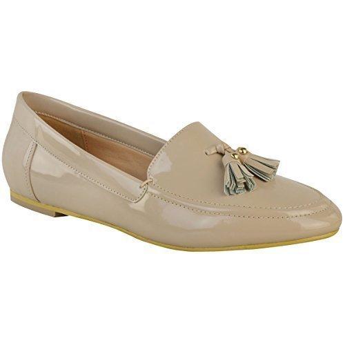 plano mujer Casual Oficina Borla Mocasines BOMBAS Deslizante Zapatos de colegio Talla - Charol Nude,