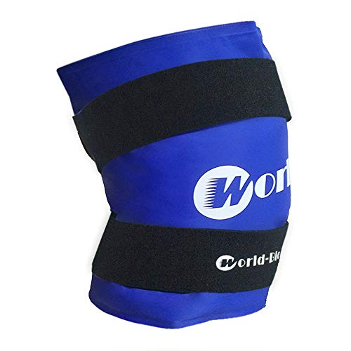 WORLD-BIO Large Knee Ice Pack Wrap for Injuries, Reusable Hot Cold Therapy for Leg Thigh Joint Pain, Medical Freezable Compression Gel Bag for Post Surgery Recovery - 2 Elastic Neoprene Straps