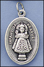 100 Piece Pack, Patron Saints Medals, Infant of Prague - Baby Jesus, Italian Oxidized Silver. (Jesus Italian Charm)