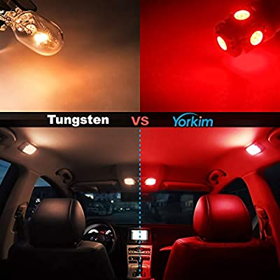 Yorkim 194 LED Bulbs Red Super Bright Newest 5th Generation, T10 LED Bulbs, 168 LED Bulb, LED Bulbs for Car Interior Dome License Plate Map Door Courtesy Lights W5W 2825, Pack of 10: Automotive