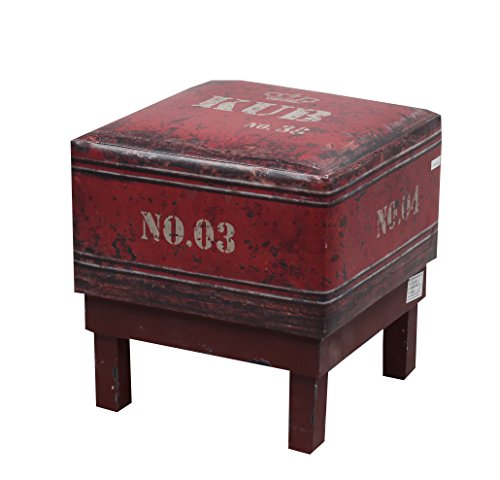 NACH FJ-14-1040 Square Faux Leather Stool/Ottoman, Red