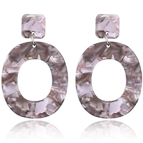 Statement Acrylic Earrings for Women:Big Geometric Plastic Retro Dangle for Women (Gray (small))