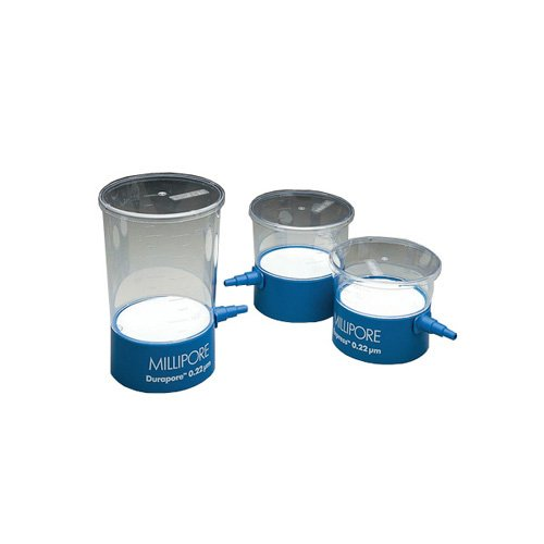 EMD Millipore Steritop-GV SCGVT05RE Polystyrene Bottle Top Vacuum Filter Unit, Radio-Sterilized, Hydrophilic, PVDF Membrane, Clear with Blue Adapter, 500ml Capacity, 0.22µm Pore Size, 45mm Thread (Pack of 12)