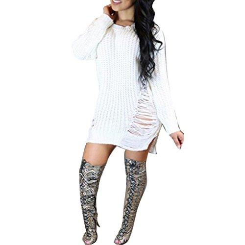 Women Knit BodyCon, Misaky Winter Slim Sweater Mini Dress (S, White)