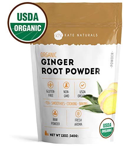Natural Ginger - Ginger Root Powder Organic by Kate Naturals. Ground. Perfect For Tea, Smoothies and Cooking. Fresh Ginger Taste & Fragrance. Large Resealable Bag. Gluten-Free and Non-GMO. 1-Year Guarantee (12oz)