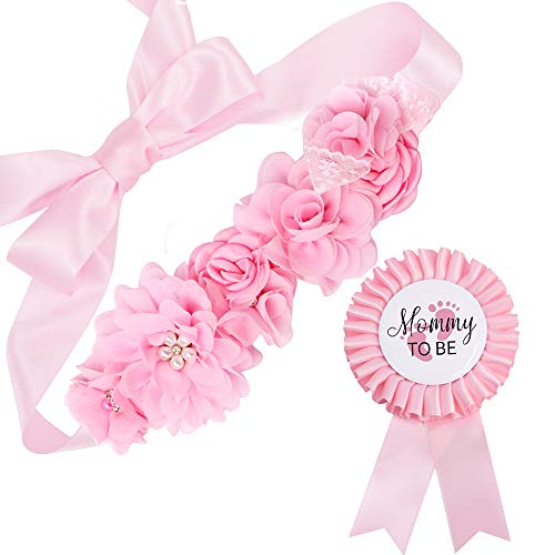 Baby Pink Maternity Sash & Mommy Corsage - Baby Shower Sash Baby Girl Pregnancy Sash Keepsake Baby Shower Flower Belly Belt
