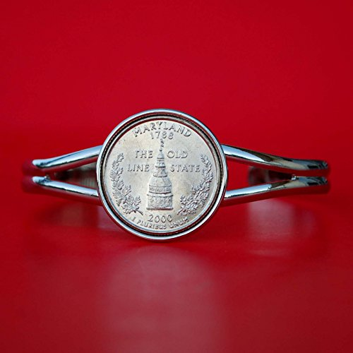 US 2000 Maryland State Quarter BU Unc Coin Silver Plated Cuff Bracelet - Beautiful