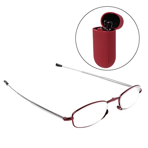 Doober Portable Folding Reading Glasses Presbyopic Eyeglass 1.0 1.5 2.0 2.5 3.0 3.5 (Red, - Eyeglasses For 2 1