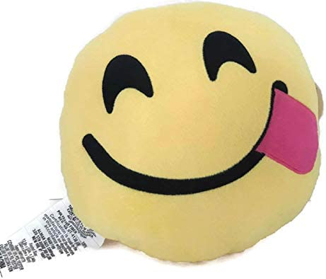 Amazon.com: Emoji Expressions Silly Tongue Face Plush Yellow ...