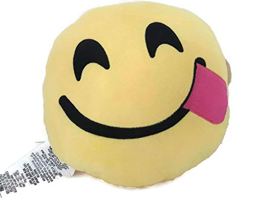 Emoji Expressions Silly Tongue Face Plush Yellow NWT Pillow 13