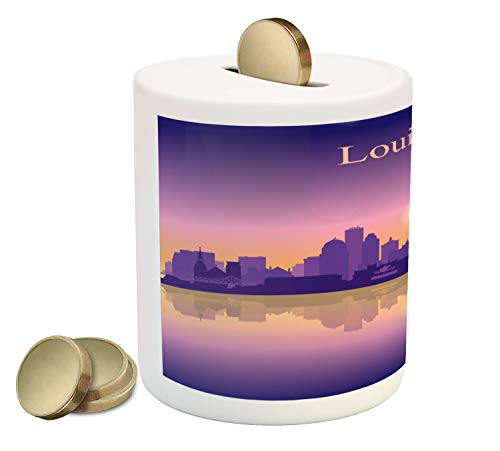 iggy Bank, City Silhouette Purple with Ombre Effect Sunset in Louisville, Printed Ceramic Coin Bank Money Box for Cash Saving, Pale Orange Pale Mauve Purple ()