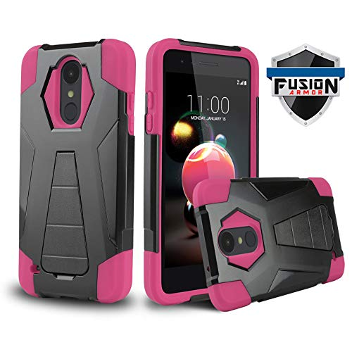 Phone Case for [LG Optimus Zone 4 (Verizon Wireless)], [Fusion Series][Pink] Shockproof Hard Plastic Silicone Rubber Gel Cover with [Built-in Kickstand] for LG Optimus Zone 4 (Verizon Wireless)