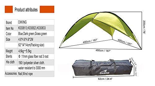 Oxking Outdoor 5-8 People Canopy Large Triangular Beach Shelter POP UP Canopy Pergola with Cloth Around UV Protection Sun Shelter Camping Fishing Festival Tents Beach Tents Awning Multi Colors (Green(grass green), two sides)