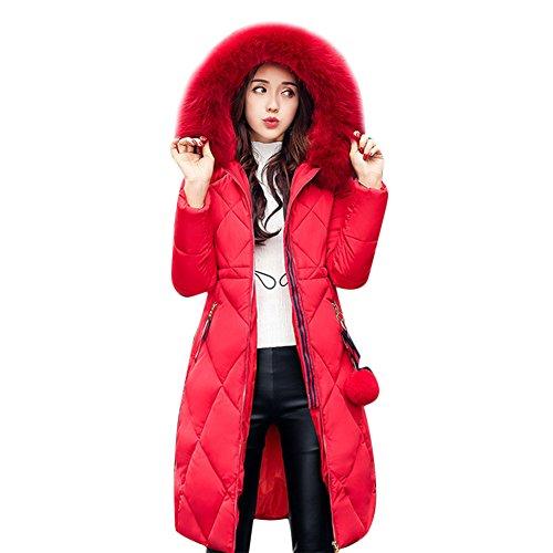 Mujer Rosso Miugee para Manga Larga Abrigo fXXgwI