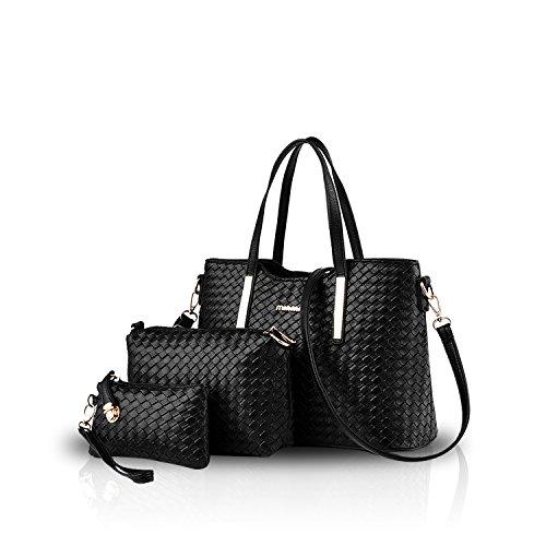 NICOLE&DORIS Fashion Handbag Crossbody Shoulder Bag Purse 3pcs Bag Tote Soft PU Leather Blue Black