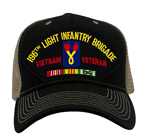 (Patchtown 196th Light Infantry Brigade - Vietnam Hat/Ballcap Adjustable One Size Fits Most (Mesh-Back Black & Tan, Standard (No Flag)))