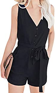 WonderBabe Womens V Neck Sleeveless Button Down Tank Romper Short Pant Jumpsuit with Pockets