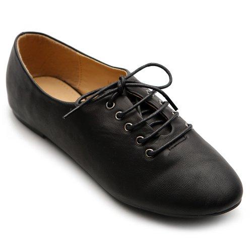 Ollio Women's Ballets Flats Shoes Lace up Multi Color Oxfords M1951(6 B(M) US, Black) by Ollio