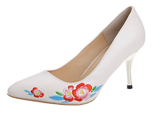 Embroidery Women's Pump Deco Oncefirst Toe White Low Pointed Heels XfFxdRHqTw