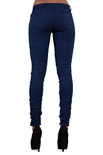 Ripped Navy para Blue Button LustyChic Jeans Vaqueros mujer 2 xFtwwO0q