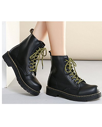 Minetom Womens Ladies Retro Winter Waterproof Anti-skid Boot Lace Up Martin Ankle Boot Black With Plush q3P0hhaEhf