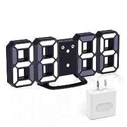 3D Digital Alarm Clock+ Charging Plugs,Modern Night Light Clock, Best Decorative LED Number Time Clock for The Wall, Table, Bedside, Desk. Modern Unique Design Alarm Clock (White/Black)