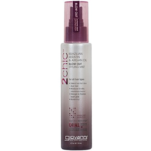 Giovanni 2chic Brazilian Keratin and Argan Oil Blow Out Styling Mist Spray, 4 Fluid Ounce