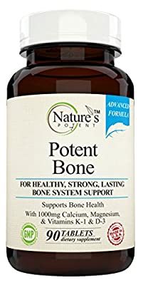 Nature's Potent - Bone Support - Supplement for Bone & Joint Health with 1000 Mg Calcium, Magnesium, Zinc and Vitamins K-1 & D-3 90 Tablets (1)