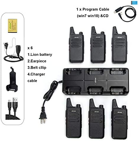 LUITON Mini Kids Walkie Talkies with Micro USB Charging LT-316 Uhf 6 Pack with Six Way Gang Charger
