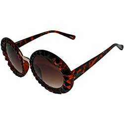 Oversized Round Sunglasses with Faceted Edging