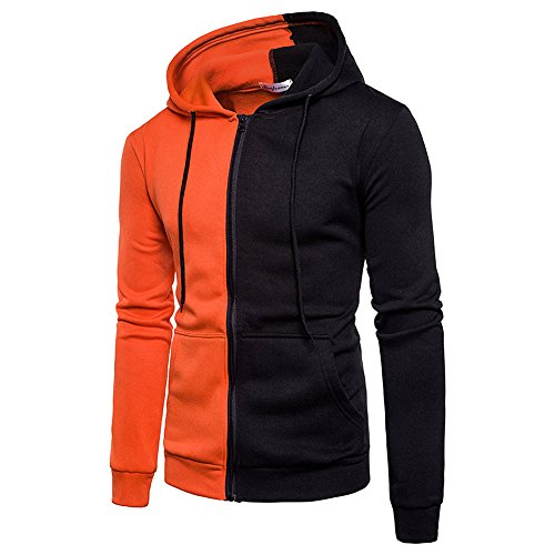 Mens Tops ! Charberry Mens Casual Sports Hooded Diagonal Sweater Coat Zipper Coat Jacket Outwear Sport Tops (US-L/CN-XL, Orange) from Charberry