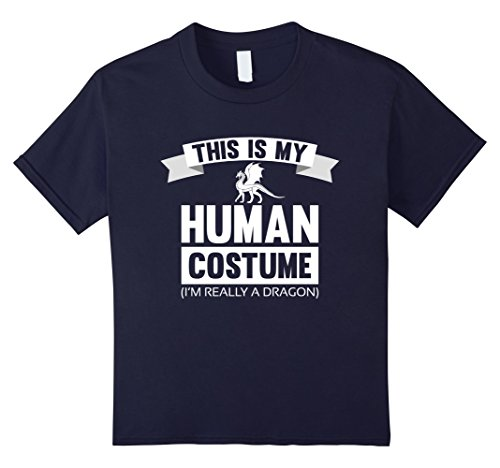 Kids This is My Human Costume I'm Really A Dragon Shirt 4 Navy