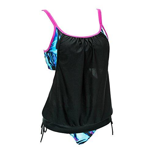 Mujeres Deportivas De Dos Piezas Tankini Doble Con Panty Stripe Alineados Tankini Establece Traje De Baño Bathsuit Negro y azul