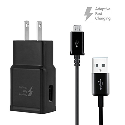 Dkaile Micro USB Android Cell Phone Adaptive Fast Charger for Samsung Galaxy S7/S7 Edge/S6/Edge/Edge+/Note 4/5, LG G2 G3 G4 (Black Wall Charger + 5FT Cable) by Dkaile (Image #4)