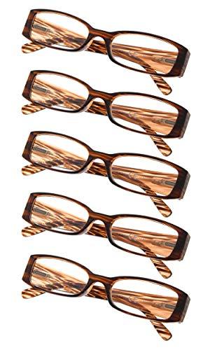 (5-Pack Ladies Reading Glasses (Brown Stripe,+1.25))